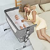 Baby Beside Crib Bassinet, Mingyall Bedside Sleeper Crib with Storage Basket, Foldable Arms Reach Crib, Portable Baby Bed to Bed with 6 Adjustable Positions for Newborn and Infant, Gray