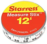 Starrett Measure Stix SM412WMERL Steel White Measure Tape with Adhesive Backing, English/Metric Graduation Style, Right To Left Reading, 12' (3.65m) Length, 0.5' (13mm) Width, 0.0625' Graduation Interval