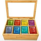 Woodcha Natural Bamboo Tea Box Storage Organizer- 8 Compartments Tea Bag Holder - Natural Wooden Finish Tea Storage Organizer