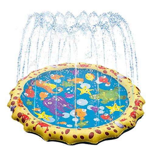 Sprinkler for Kids, (Upgraded 2020 Version) 39in-Diameter Splash Pad, Wading Pool for Learning - Children's Sprinkler Pool, Outdoor Swimming Pool for Kids, Baby, Kid, Pet
