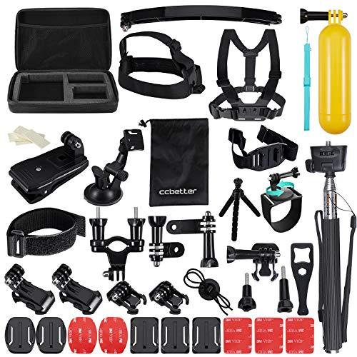 Accessori per GoPro, CCbetter 50in 1Sport Action Camera per Hero 4Hero 5Session Hero 1233+ con ccbetter CS710CS720W + SJ4000500060007000Xiaomi Yi con valigetta nera