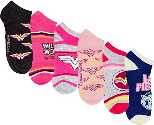 DC Comics Wonder Woman, confezione da 6 paia di calzini da donna assortiti