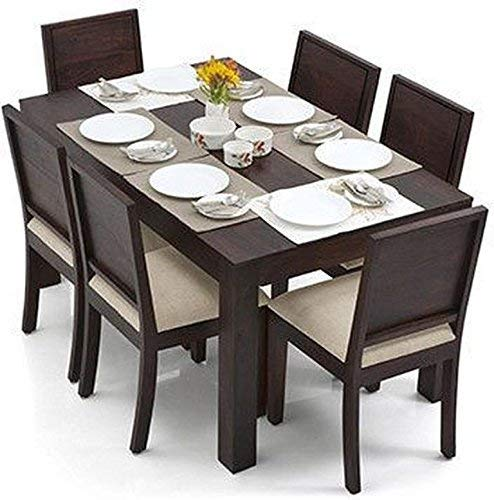 Monika Wood Furniture Sheesham Wood Dining Table 6 Seater | Dinning Table with 6 Chairs with Cushion | Dining Room Furniture | Dark Walnut Finish