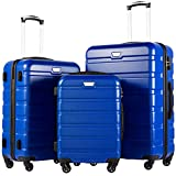 COOLIFE Maleta con Ruedas giratorias para Llevar en la Cabina de la Mano Azul Azul 3 Pcs Set