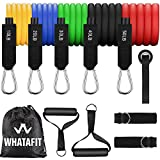 Whatafit Resistance Bands Set (11pcs), Exercise Bands with Door Anchor, Handles, Waterproof Carry...