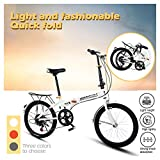 Folding Bike 7 Speed ​​City Folding Mini Compact Bike Bicycle Mini Bicycle Compact Bikes Adults Men, Women Students, Office Workers Folding Bike 20 in (White)