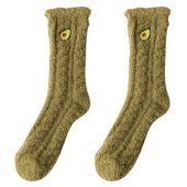 KesYOO Meias femininas felpudas, grossas, de pelúcia, para o inverno, meias de Natal, para dormir em ambientes internos, Verde, 34*12*0.7cm