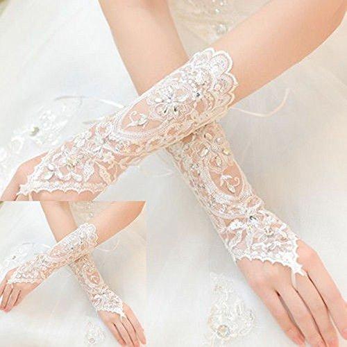 Distinct Sposa Abito Strass Senza Dita Pizzo Raso Guanti da Sposa Bianco