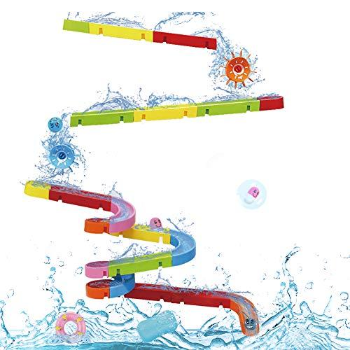 Nuheby Badespielzeug Badewannenspielzeug BAU-Puzzle Autorennbahn 38 Stück Spielzeug Badespaß Wasserspielzeug Für Kinder Ab 3 4 5 Jahre Junge Mädchen