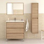 Miroytengo Pack mobiliario baño Que Incluye Mueble Lavabo 3 cajones, Espejo a Juego, lavamanos cerámico y Columna Aseo 2 Puertas Color Nature fabricación Nacional