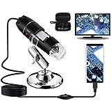 Microscopio Digital USB 40X a 1000X, Bysameyee 8 LED Cámara de endoscopio de Aumento con Estuche y Soporte de Metal, Compatible para Android Windows 7 8 10 Linux Mac
