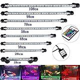 DOCEAN Aquarium LED Tube Luminaire D'éclairage Lumière Submersible étanche IP68 RGB 16 Couleurs 28CM Long