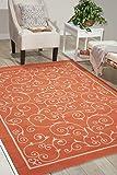 Nourison Home and Garden Indoor/Outdoor Floral Vibrant Orange Rug (7'9'x10'10')