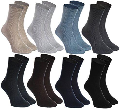 Rainbow Socks - Donna Uomo Calze Diabetici Senza Compressione - 8 Paia - Beige Marrone Nero Graphite...