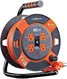 Link 2 Home Cord Reel Extension Cord 4 Power Outlets – 14 AWG SJTW Cable. Heavy Duty High Visibility Power Cord (60 Feet)