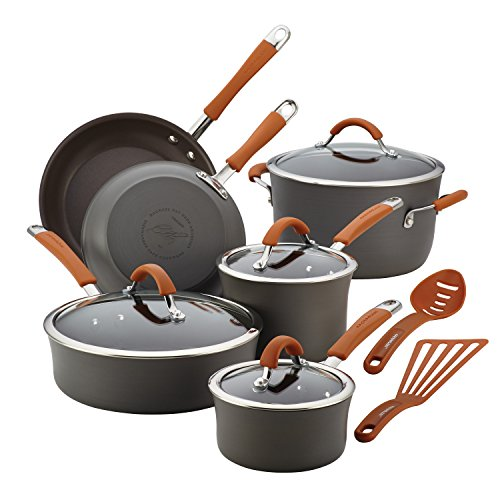 Product Image 1: Rachael Ray Cucina Dishwasher Safe Hard Anodized Nonstick Cookware Pots and Pans Set, 12 Piece, Gray with Orange Handles