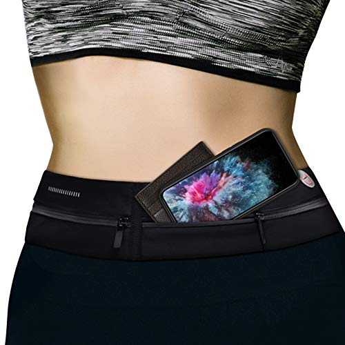 MATEPROX Running Belt Bag for Women Men, Large Capacity Adjustable Elastic Waist Pack with Headphone Hole, Slim Waterproof Sweatproof Waist Pouch for Outdoor Activities-Black