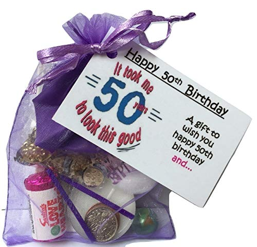Bagsoflove Gifts 50th Birthday Survival Kit - Unique 50th Keepsake Gift Idea - Just Because