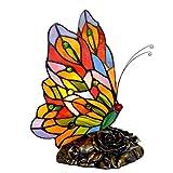 Style Tiffany Papillon Lampe De Table E14, Vitrail Résine Culot Lampe à...