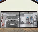 Heavy Duty Weighted Garage Door Screen for 2 Car 16 x7 FT, Retractable Fiberglass Mesh Magnetic Self-Closing Garage Door Curtain with 6 Roll Up Starps, Hand Free, Easy to Install