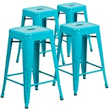 Flash Furniture 4 Pk. 24'' High Backless Crystal Teal-Blue Indoor-Outdoor Counter Height Stool - 4-ET-BT3503-24-CB-GG