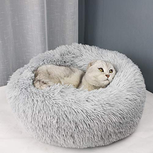 """BODISEINT Modern Soft Plush Round Pet Bed for Cats or Small Dogs, Mini Medium Sized Dog Cat Bed Self Warming Autumn Winter Indoor Snooze Sleeping Cozy Kitty Teddy Kennel (M(23.6""""Dx7.9 H), Light Grey)"""