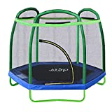 Clevr 7ft Kids Trampoline with Safety Enclosure Net & Spring Pad, 7-Foot Indoor/Outdoor Round Bounce Jumper 84', Built-in Zipper Heavy Duty Frame, Green and Blue | Great Gift