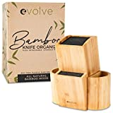 """EVOLVE Bamboo Knife Block - Universal Kitchen Knife Holder - Safe & Space Saver Knife Storage that Covers Knife Blades Up To 9"""" & Holds Up To 20 Knives with Machine Washable & BPA Free Flex Rods"""