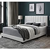 DG Casa Herman Tufted Upholstered Panel Bed Frame with Vertical Channel Wingback Headboard, Queen Size in White Faux Leather Fabric