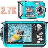 Waterproof Camera Waterproof Digital Camera Full HD 2.7K 48MP Underwater Camera for Snorkeling | Dual Screen | 16X Digital Zoom | Flashlight | 10 Feet Waterproof