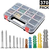 HongWay 370pcs Plastic Wall Anchors Kit with Screws, Includes 5 Different Size Anchors and Screws