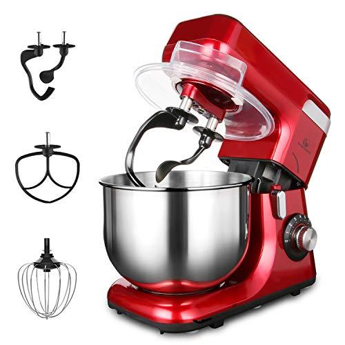 MURENKING 1200W Küchenmaschine (8 Geschwindigkeit, 5.5Liter), Auto - Kippkopf Doppelten Knethaken, Knetmaschine mit 4 Zubehören, Cola-Rot