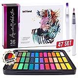 int!rend - Set de peinture aquarelle, comprenant de 36 couleurs, 2 pinceaux...