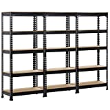 Topeakmart 3 Pack Heavy Duty 5 Tier Commercial Industrial Racking Garage Shelving Unit Adjustable Display Stand,59' H