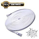 30m de Câble Réseau Blanc - CAT6 (amélioré) Câble Cat 6 Ethernet Plat 1000...