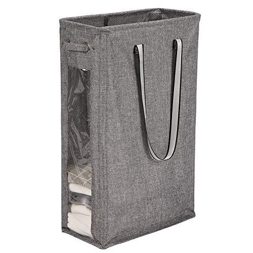 Caroeas Wäschekorb, 61 cm, handlicher Wäschekorb hoch & schmal Wäschesack, wasserdicht, faltbar, Reise-Wäschesack mit atmungsaktivem Netzbezug & weichem Griff'