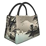 Bolsa de almuerzo con aislamiento de animales bonitos con pintura japonesa, bolsa de asas con refrigerador para oficina y escuela de tr