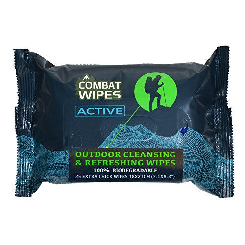 Combat Wipes Active Outdoor Wet Wipes | Extra Thick, Ultralight, Biodegradable (25 Wipes)