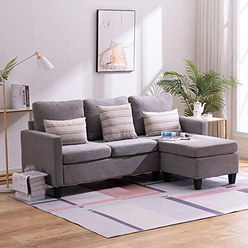Bonnlo Convertible Sectional Sofa L Shaped Sectional Couch Small 3-Seater Sectional Sofas,Modern Living Room Sectional Sofa Couch with Reversible Chaise (Grey)