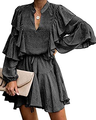 Ruffle details cascade down the front and the long sleeves for a playfully luxe feel. Design with V neckline, Polka dots, Elastic waist, Removable waist tie, Pleated hem, Above knee, Loose fit mini dress. This mini dress has full lining except for sl...
