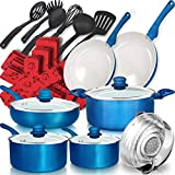 Dealz Frenzy 23 Pieces Soft Grip Absolutely Healthy Ceramic Nonstick Cookware Set with Stay Cool Silicone Handle Dishwasher/Oven Safe, Pots and Pans Set,Thanksgiving Day,Durable,Scratch Resistance