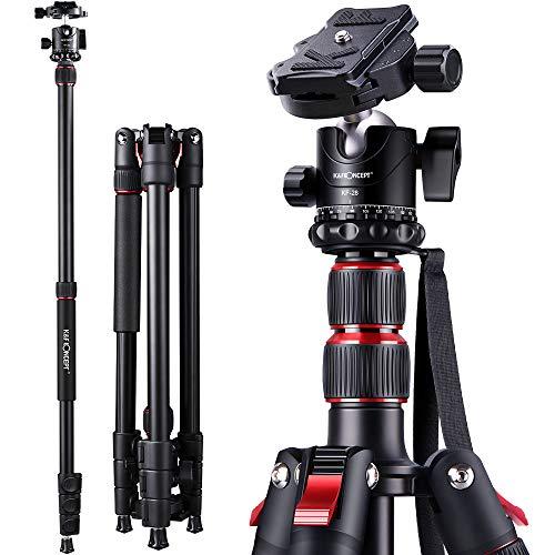 K&F ConceptTreppiedi Fotocamera 200cm,TreppiedeReflexPortatible,Treppiede per Fotocamera in Lega di Alluminio per Canon Nikon Sony con Borsa Trasporto per Viaggio e Lavoro