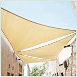 ColourTree 22' x 22' x 22' Beige Sun Shade Sail Triangle Canopy Fabric Cloth Screen, Water Permeable & UV Resistant, Heavy Duty, Carport Patio Outdoor - (We Customize Size)