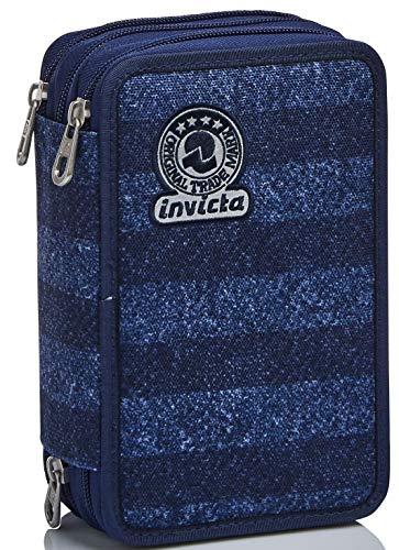 Astuccio 3 Scomparti Invicta , Stripes, Blu, Completo di matite, penne, pennarelli
