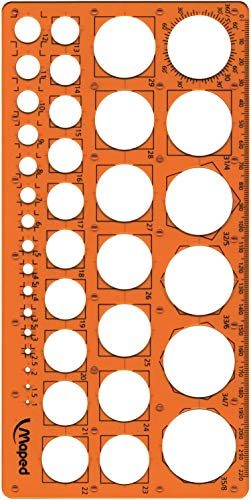 Maped - Kreis-Schablone TECHNIC, für Kreise Durchmesser 1-35 mm - orange