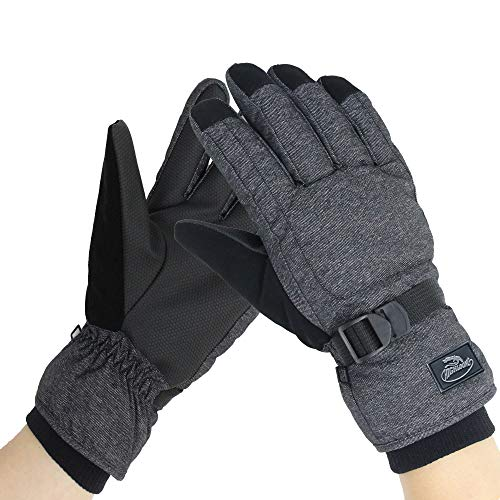 HighLoong Men's Waterproof Ski Snowboard Gloves Warm Thinsulate Lined Cold Winter Skiing Snowboarding Glove (M)