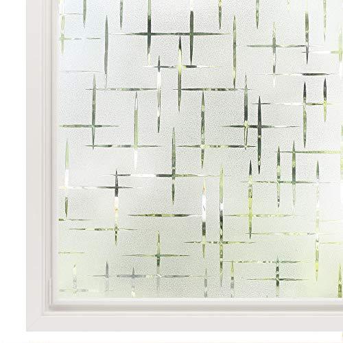 rabbitgoo Pellicola per Finestre Vetri-3D Trasversale, Autoadesive,Statica, Anti-UV per Cucina,Ufficio,Camera da letto44.5cm x 200cm