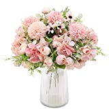 Decpro 2 Pcs Thé Artificiel Rose Soie Hortensias Chrysanthème Oeillets Bouquets De Fleurs pour Mariage, Décoration De Jardin De Bureau À Domicile, Arrangements Floraux( Rose Clair)