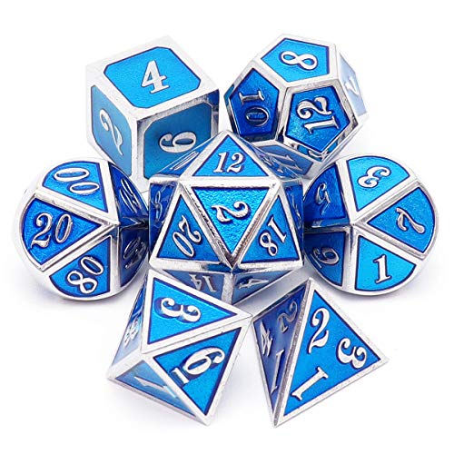 Haxtec Metal DND Dice Set for D&D Dungeons and Dragons RPG Games-Silver Blue