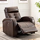 ANJ Big and Tall Electric Power Recliner Chair with USB Charge Port Breathable Bonded Leather Sofa Reclining Home Theater Seating for Living Room (Brown)